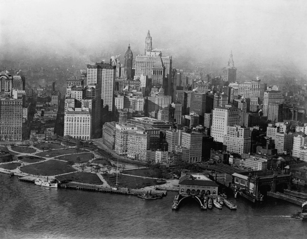 Detail of Overview of Battery Park and Lower Manhattan by Corbis