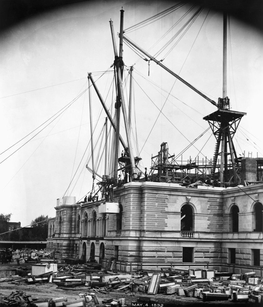 Detail of CONSTRUCTION OF THE LIBRARY OF CONGRESS PHOTOS MAY 4, 1892 by Corbis