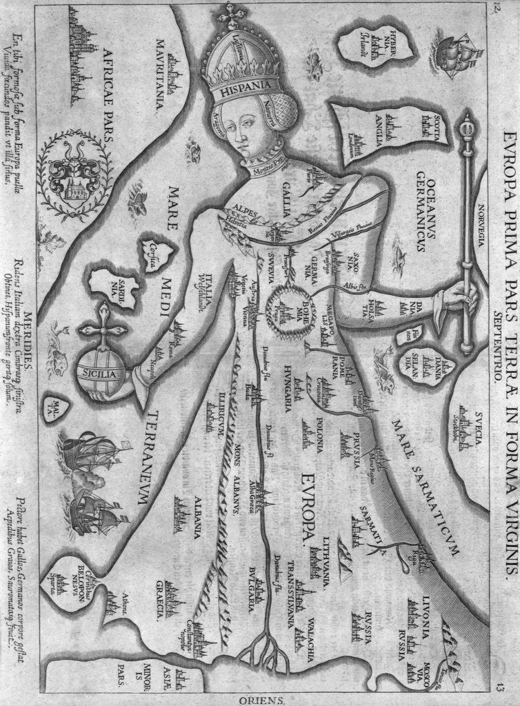 Detail of German Engraving Map of Europe in the Figure of Queen Elizabeth I by Corbis
