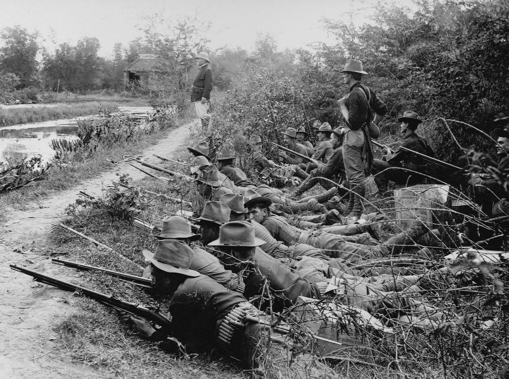 Detail of American Soldiers on Maneuvers During the Philippine Insurrection by Corbis