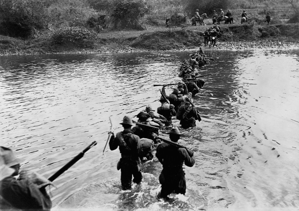 Detail of American Soldiers Crossing the Tuliahan River. by Corbis