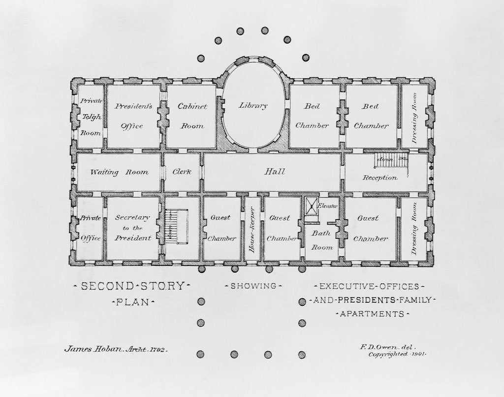 Detail of Floor Plan of the White House by Corbis
