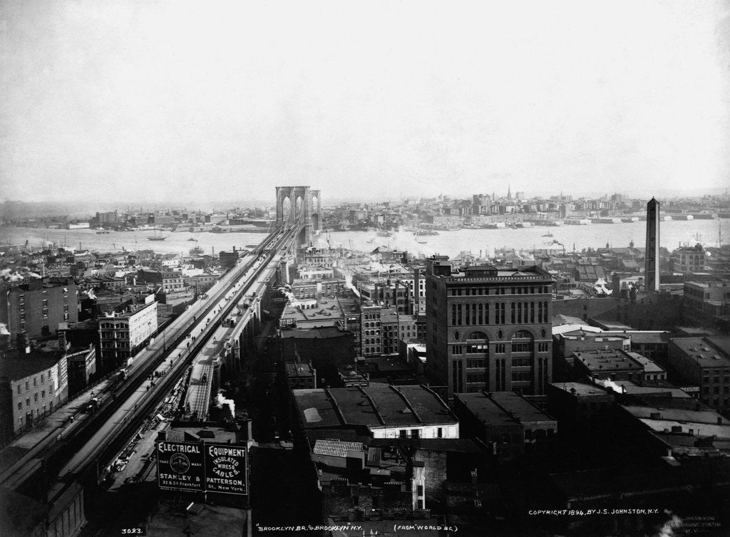 Detail of Brooklyn Bridge and Brooklyn from World Building by Corbis