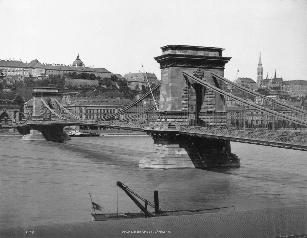 Detail of Chain Bridge in Budapest by Corbis