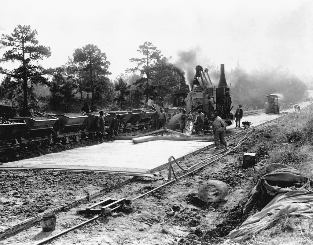 Detail of Construction of concrete road on section of National Highway, Durham County, NC by Corbis