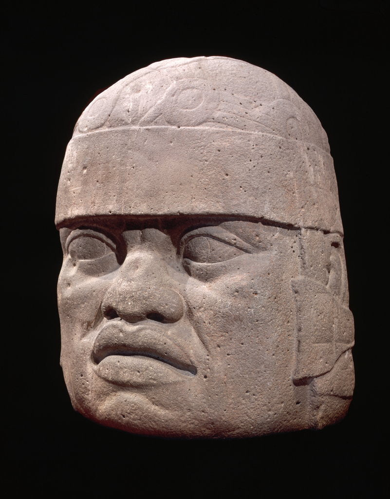 Detail of Olmec Colossal Head by Corbis