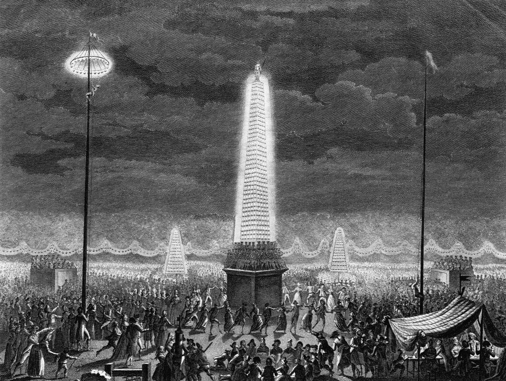 Detail of Fetes et Illuminations aux Champs Elysees, le 18 Juillet 1790 by Pierre Gabriel Berthault