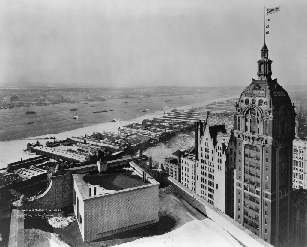 Detail of Eastern View of Singer Tower and Hudson River by Corbis