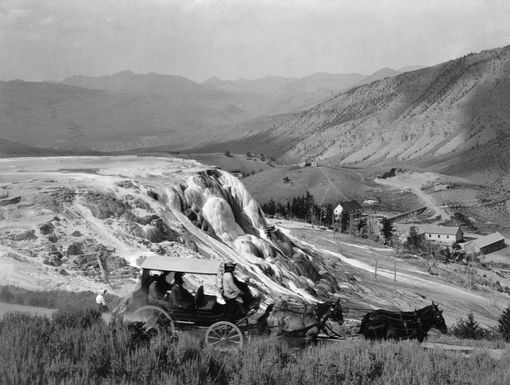 Detail of Stagecoach at Mammoth Hot Springs by Corbis