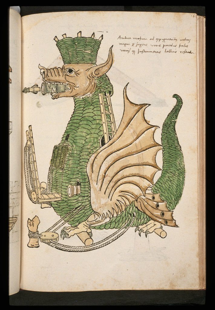 Detail of 15th-Century Illustration of a Siege Machine in the Shape of a Dragon by Corbis