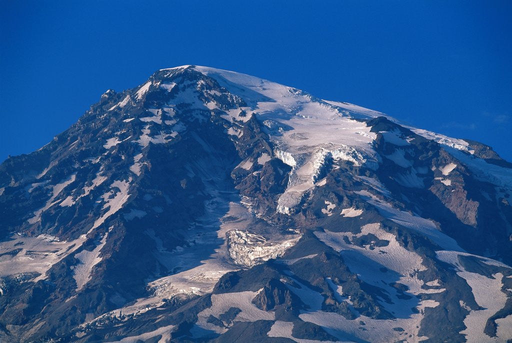 Detail of Snow Covered peak of Mount Rainier in the Cascade Mountain Range by Corbis