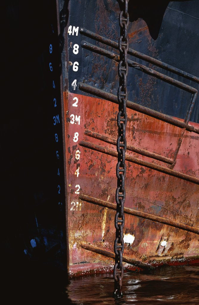 Detail of Tugboat Bow and Lowered Anchor Chain by Corbis