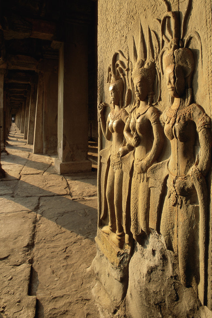 Detail of Bas Relief Sculptures at Angkor Wat by Corbis