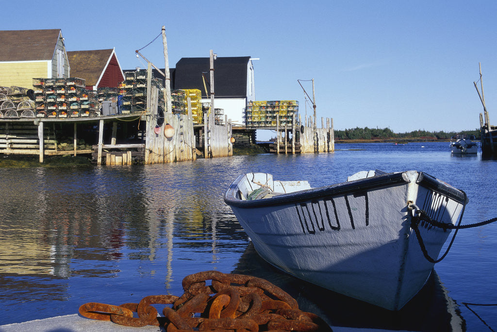 Detail of Boat and Fishermen's Wharf in Nova Scotia by Corbis