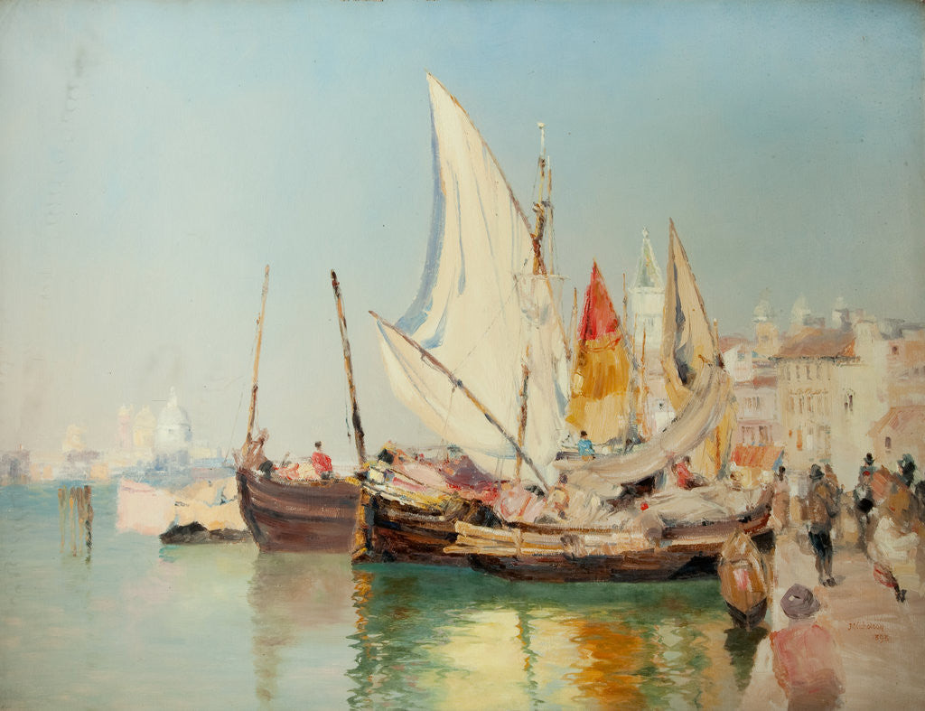 Detail of Barges, the Grand Canal, Venice by John Miller Nicholson