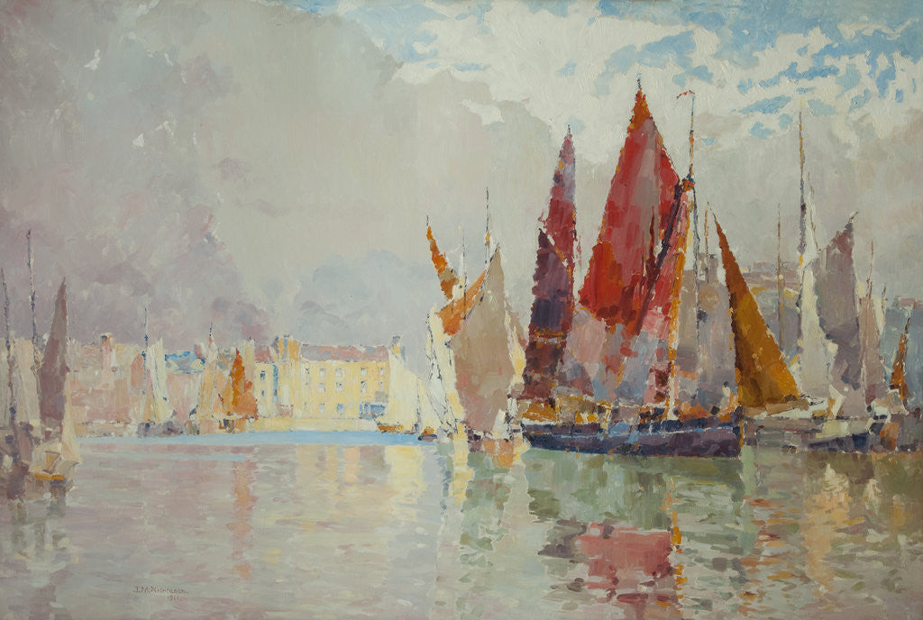 Detail of Fishing boats, Douglas harbour in bright sunshine by John Miller Nicholson