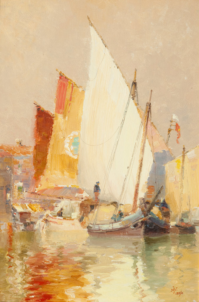 Detail of Fishing boats, Venice by John Miller Nicholson