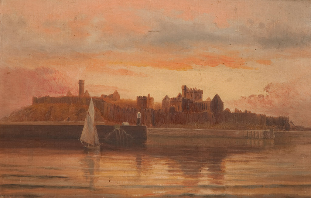 Detail of Peel Castle from the sea, at sunset by George Goodwin