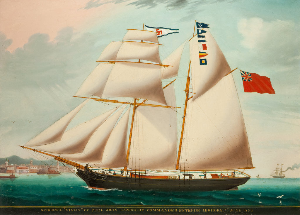 Detail of Schooner 'Vixen' entering Leghorn in 1863 under the command of John Sansbury by Anonymous