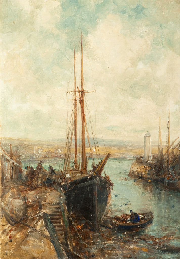 Detail of Port St Mary Harbour by William Webb