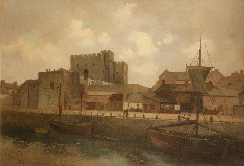 Detail of Castle Rushen and Harbour by Alfred Benjamin Cole