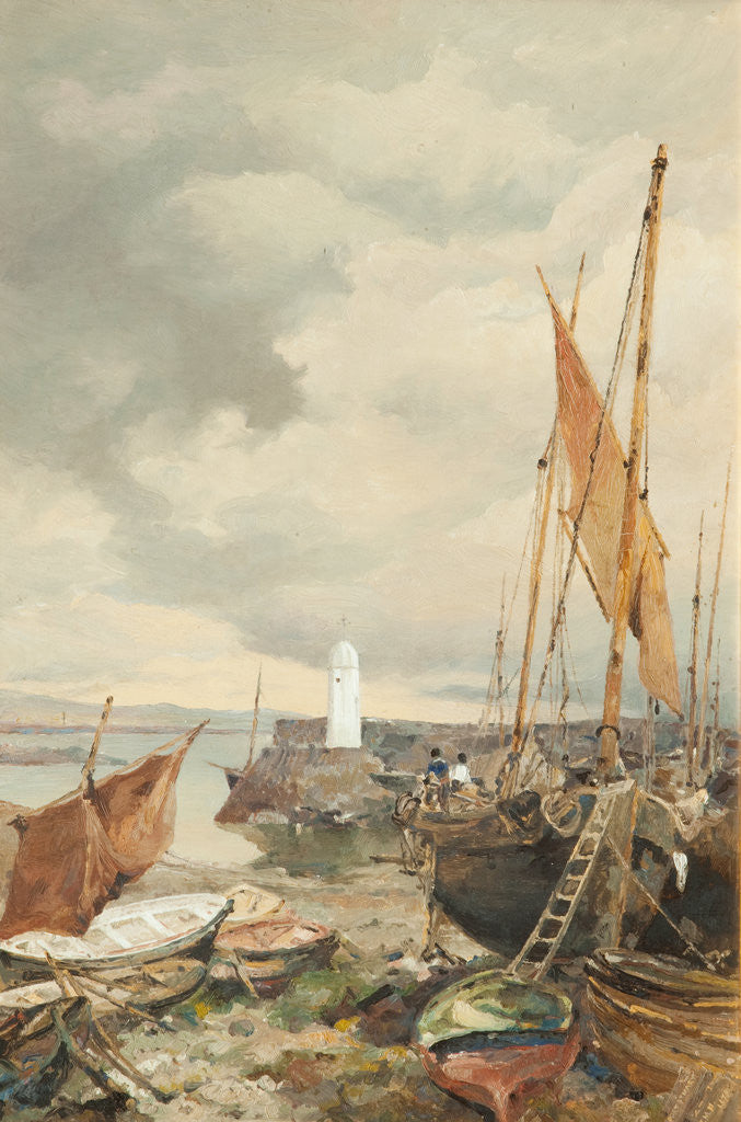 Detail of Port St Mary Harbour by John Miller Nicholson