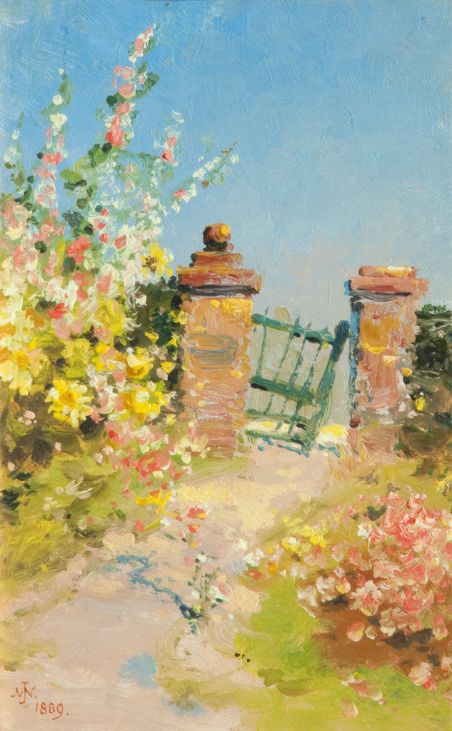 Detail of Garden Gate with Hollyhocks by John Miller Nicholson