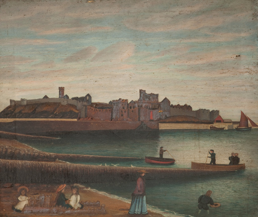 Detail of Peel Castle and Harbour by Robert Gell