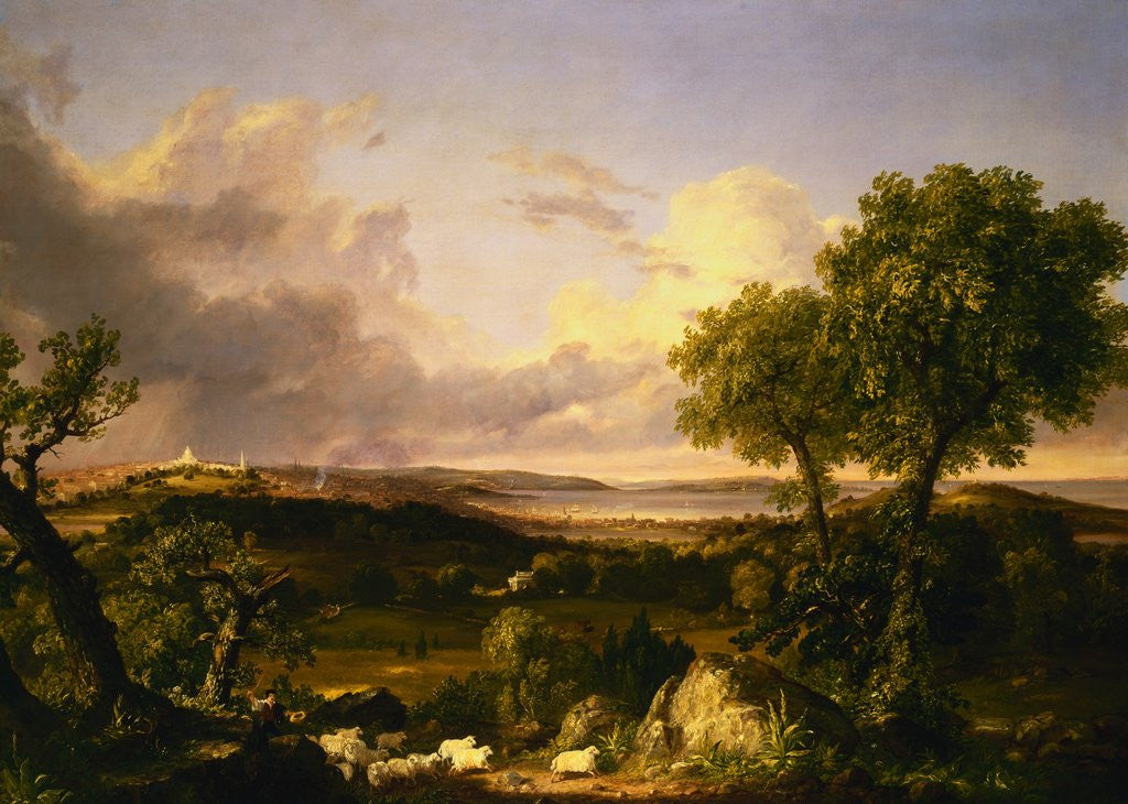 Detail of View of Boston by Thomas Cole