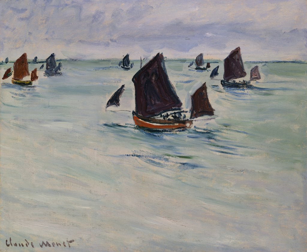 Detail of Fishing Boats off of Pourville by Claude Monet