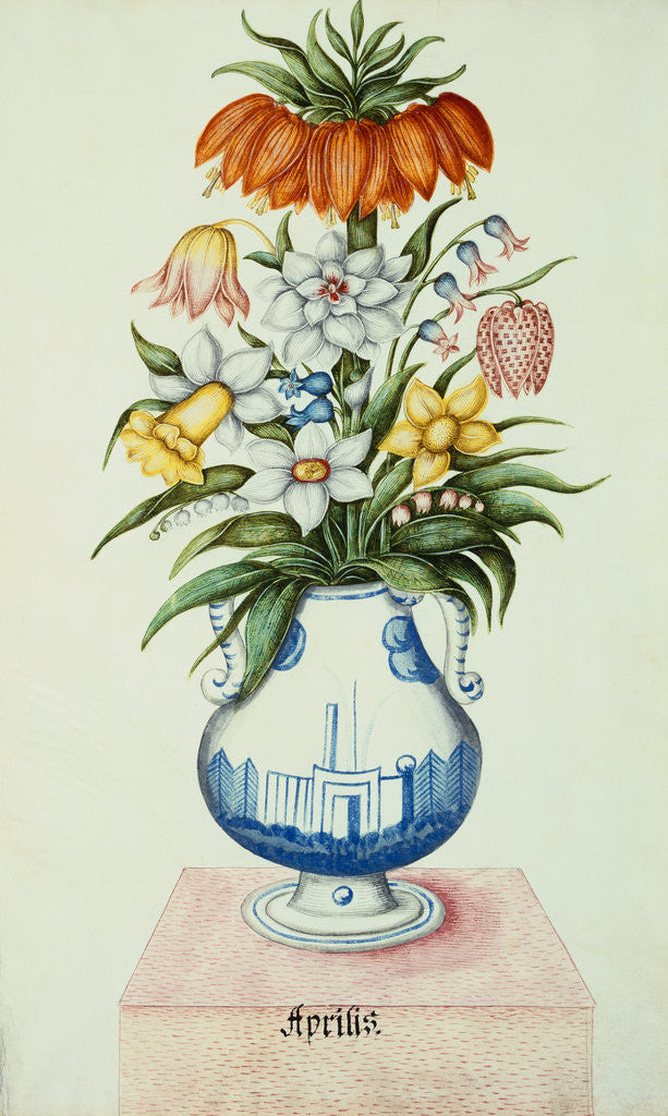 17th Century German Watercolor Entitled The Months Flowers In A