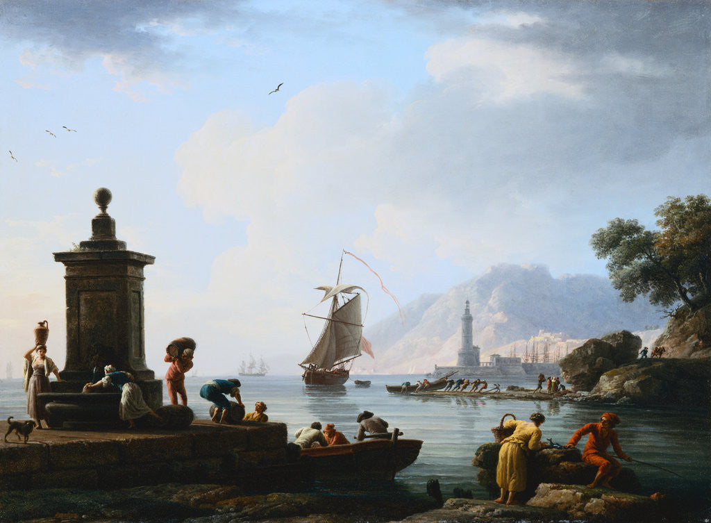Detail of A View of the Harbor at Genoa Claude-Joseph Vernet by Corbis