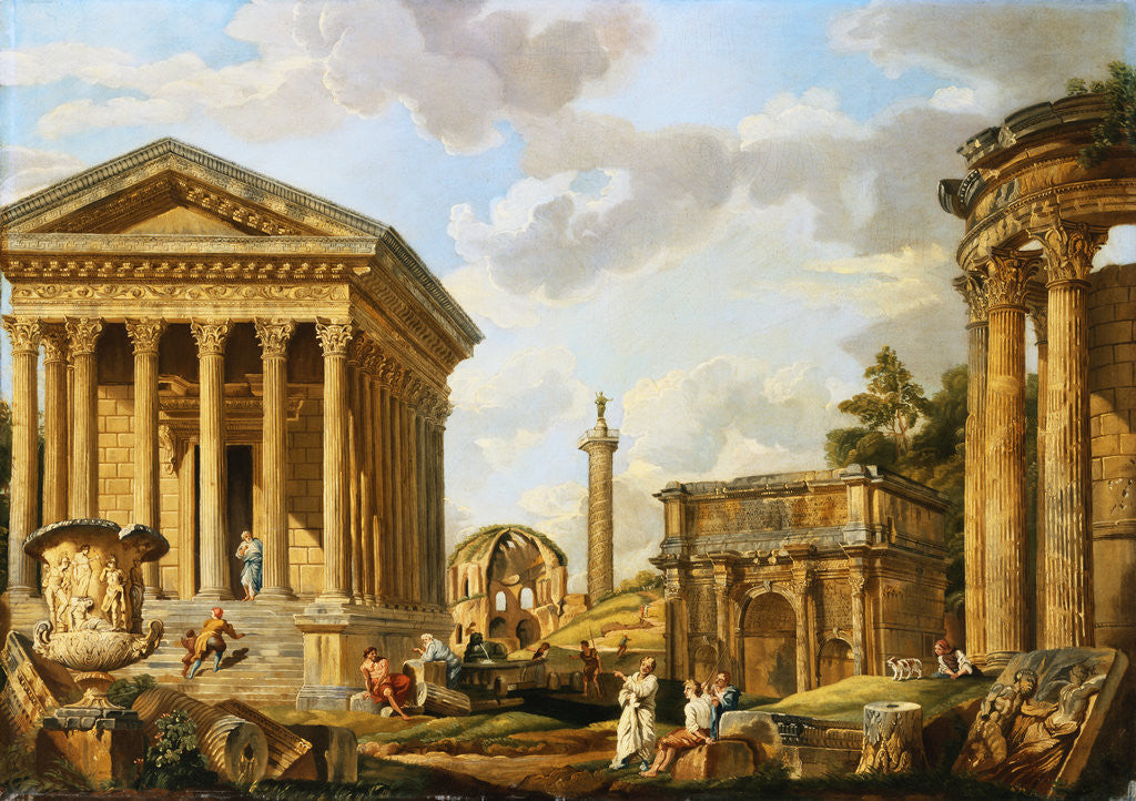 Capricci of Classical Ruins with the Arch of Septimus Severus, Trajan's Column and the Maison Carree, with Philosophers Discoursing and Figures Strolling by School of Giovanni Paolo Panini