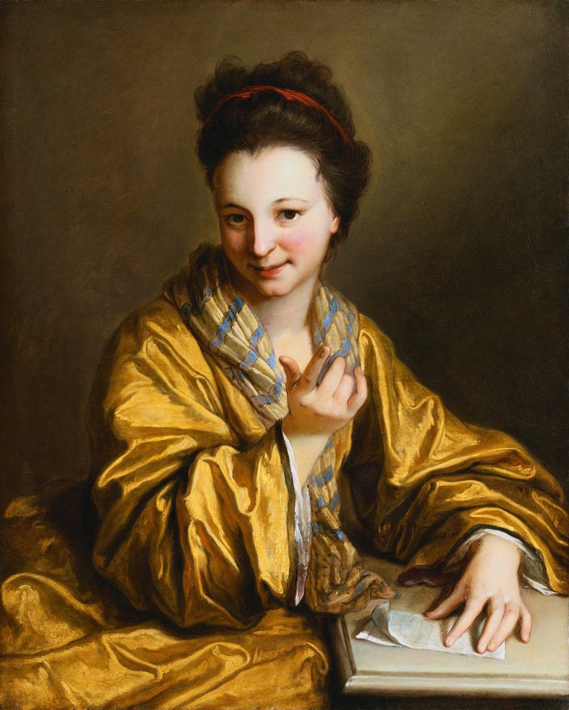 Detail of A Young Lady, Wearing a Yellow Robe, Seated at a Table, Beckoning by Jean-Baptiste Santerre