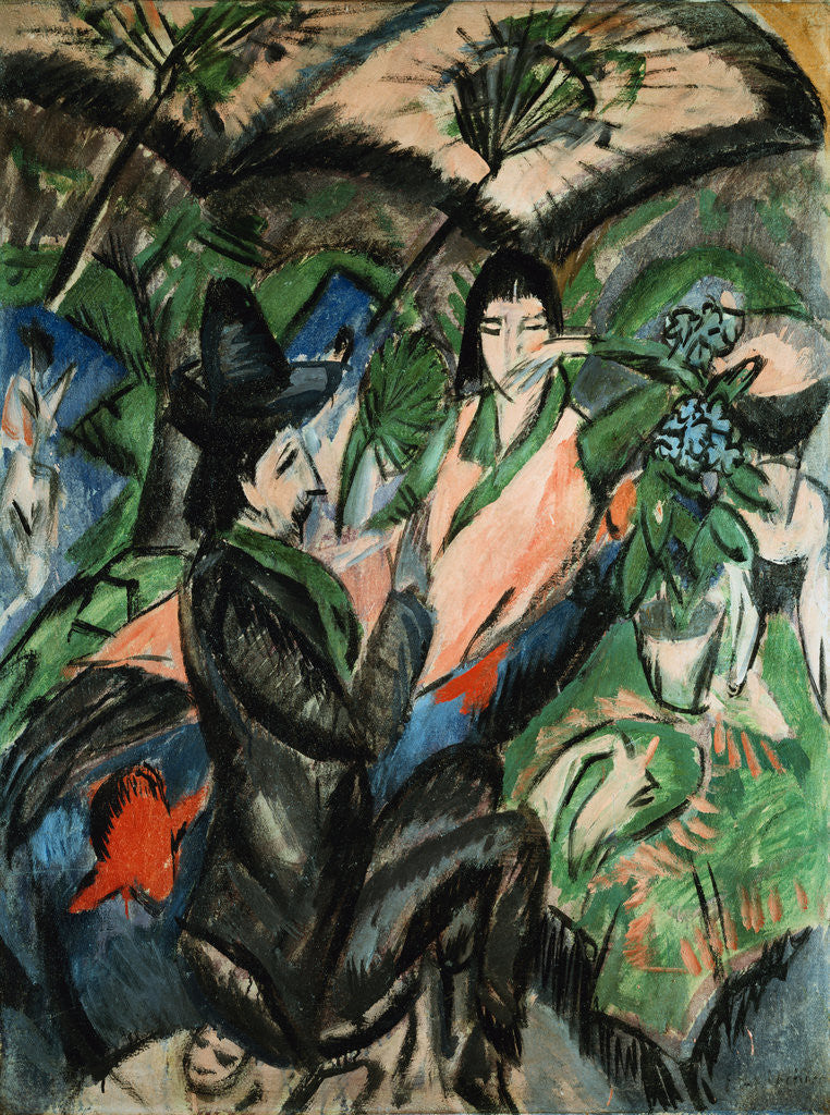 Detail of Couple Under Japanese Screen by Ernst Ludwig Kirchner