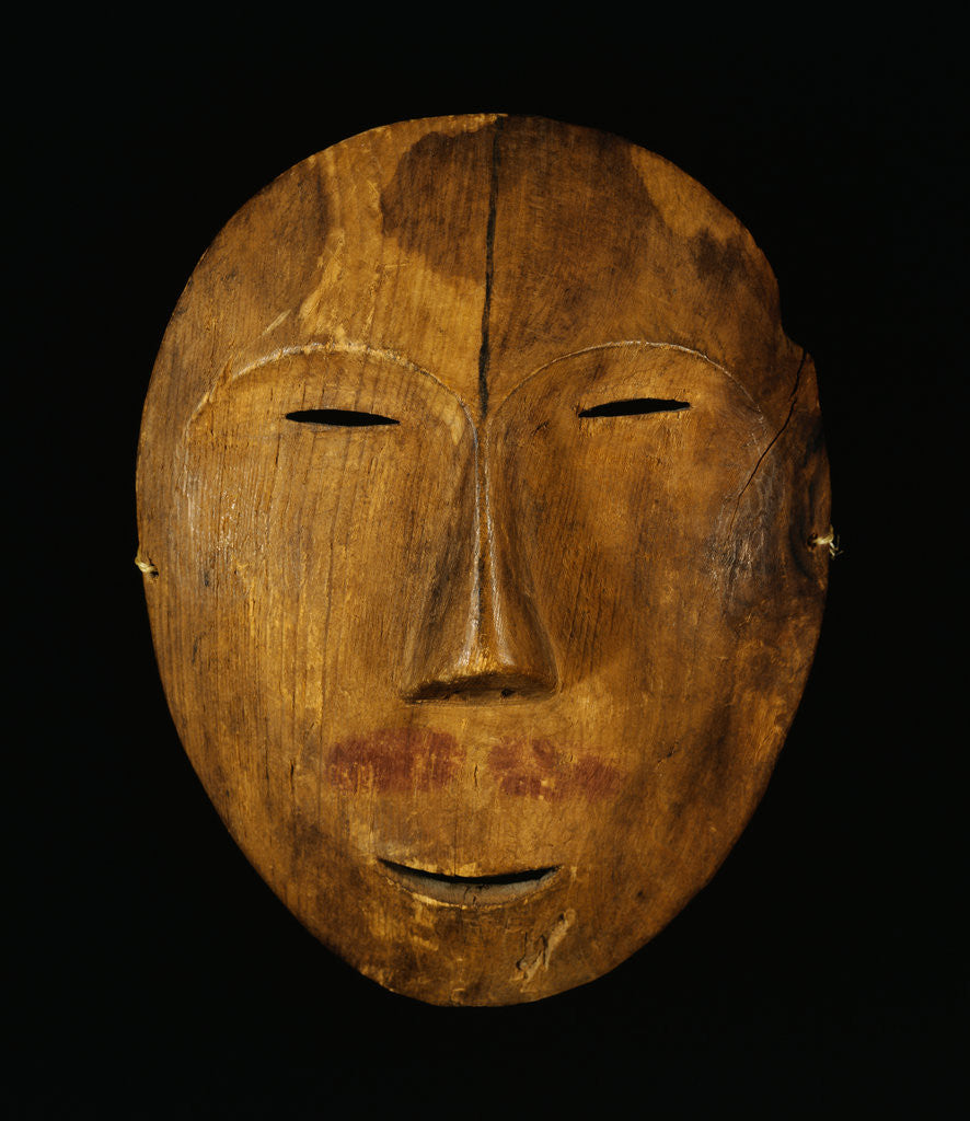 Detail of An Eskimo Wood Face Mask from Northern Alaska by Corbis