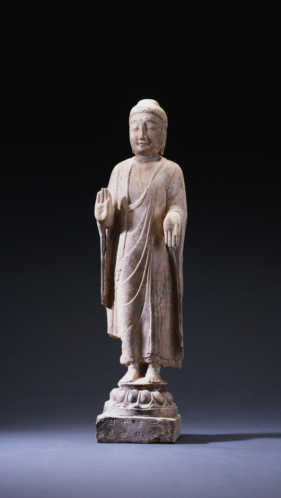 Detail of A Marble Standing Figure of Buddha, Northern Qi Dynasty by Corbis