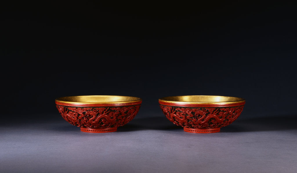 Detail of A Pair of Carved Red Lacquer Dragon Bowls by Corbis