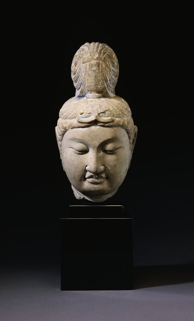 Detail of A Gray Stone Head of a Bodhisattva. Tang Dynasty by Corbis
