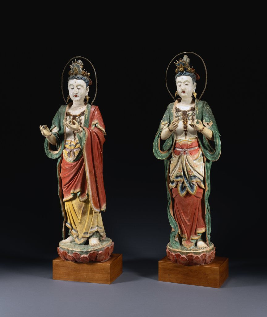 Detail of A Pair of Rare Monumental Painted Stucco Figures of Bodhisattvas. Yuan / Ming Dynasty by Corbis