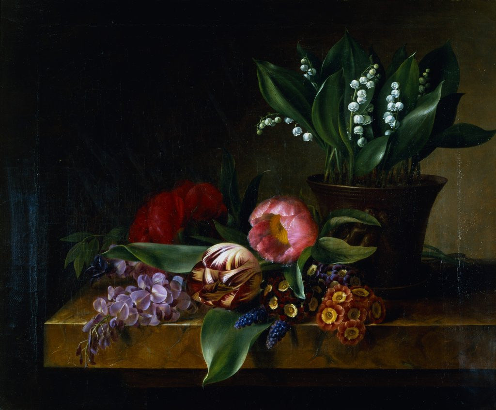 Painting of a lily of the valley tulips primula and other flowers detail of painting of a lily of the valley tulips primula and other flowers izmirmasajfo