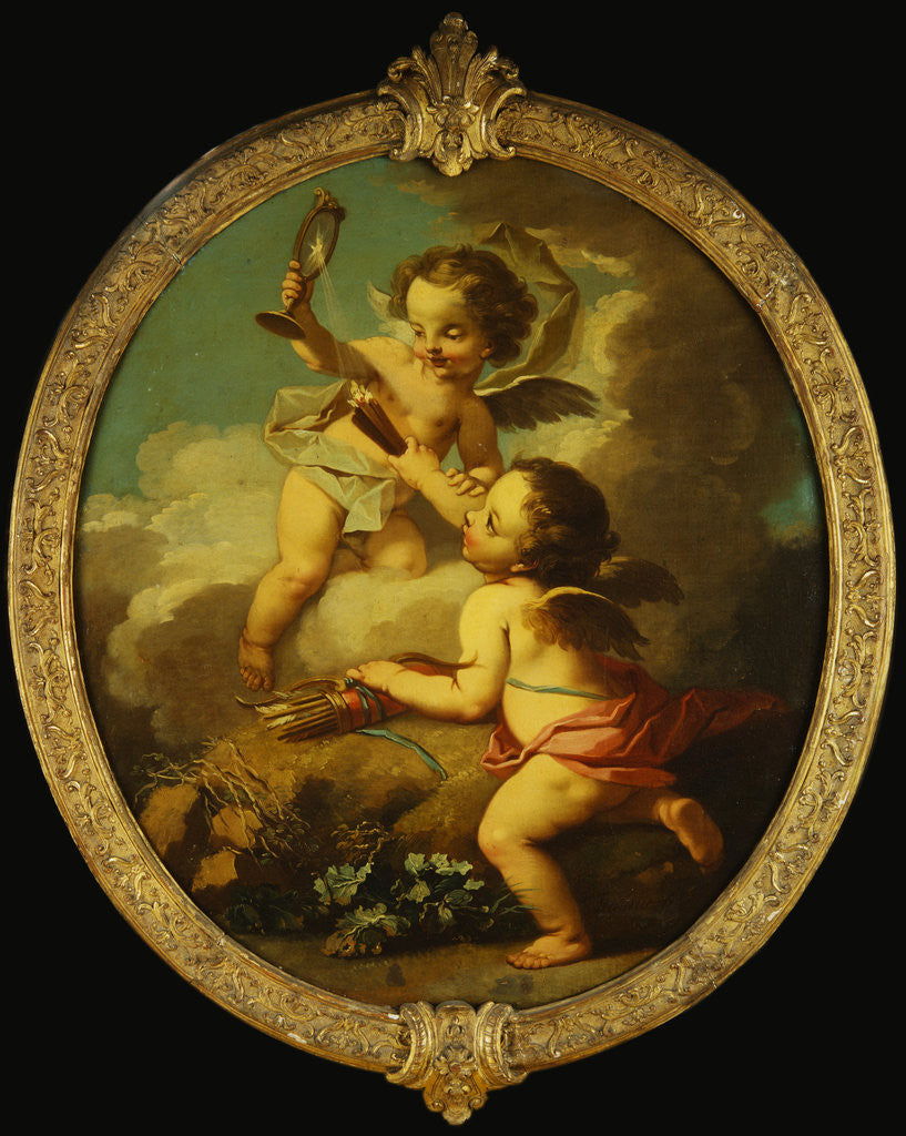 Detail of An Allegory of Love: Putti Disporting in a Landscape by Etienne Jeaurat