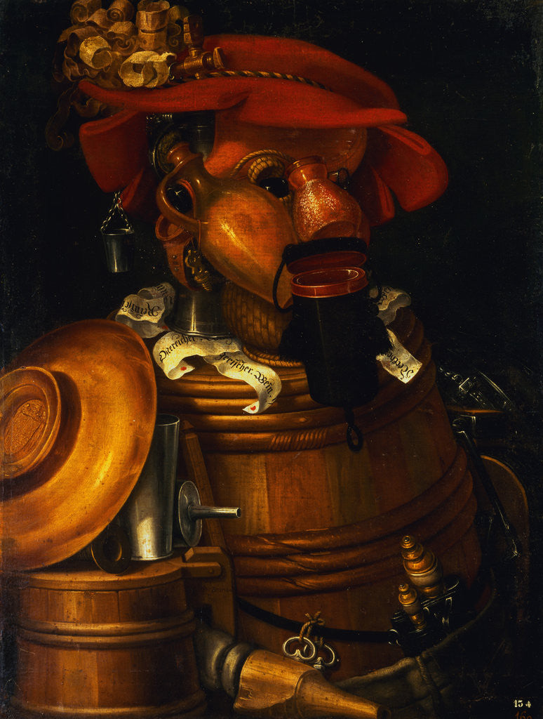 Detail of The Waiter: An Anthropomorphic Assembly of Objects Related To Winemaking by Giuseppe Arcimboldo