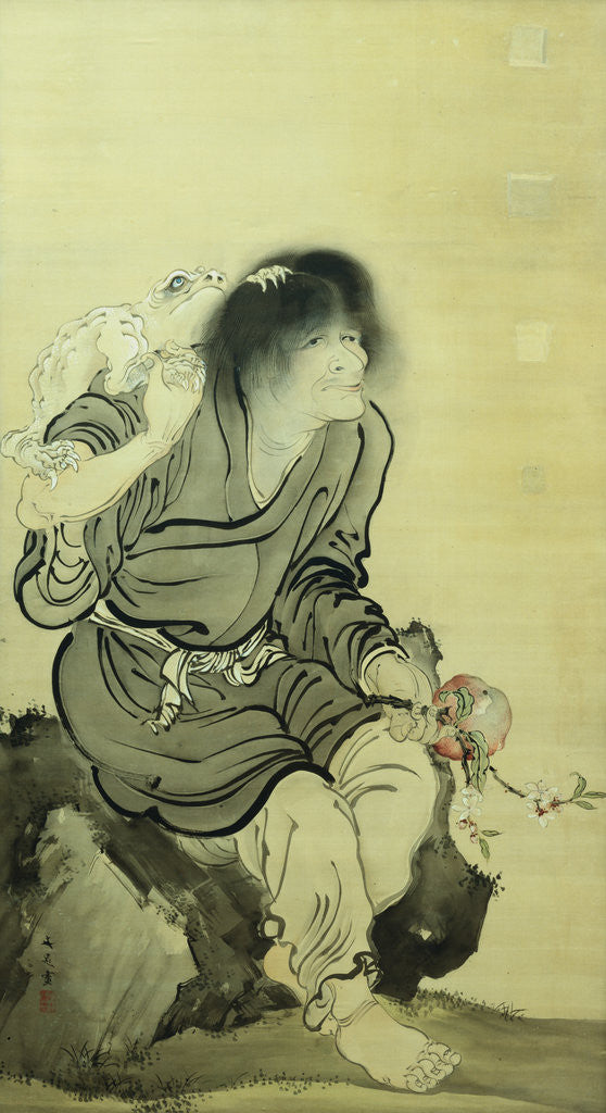 Detail of Gama Sennin and His Toad by Tani Buncho