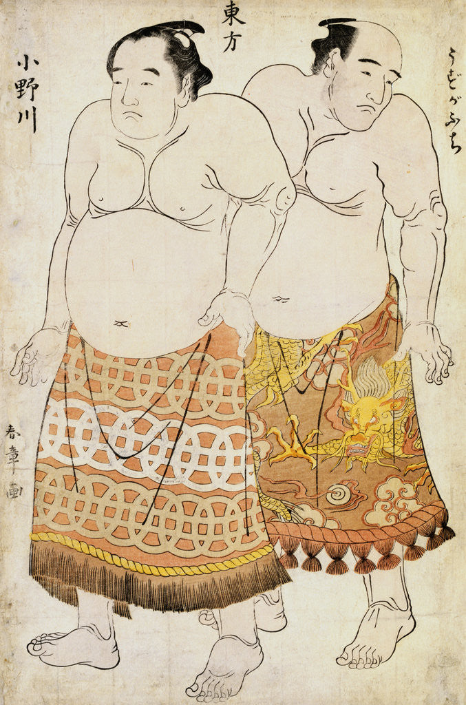 Detail of Full-Length Portraits of Wrestlers from the Eastern Group, Uzugafuchi on the Right and Onogawa on the Left by Shunsho