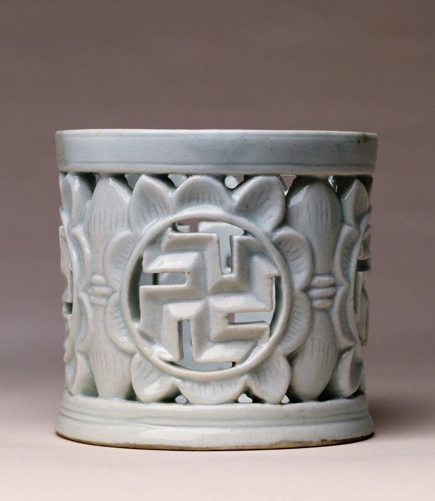 Detail of A White Glazed Reticulated Brush Pot. Yi Dynasty (19th Century) by Corbis