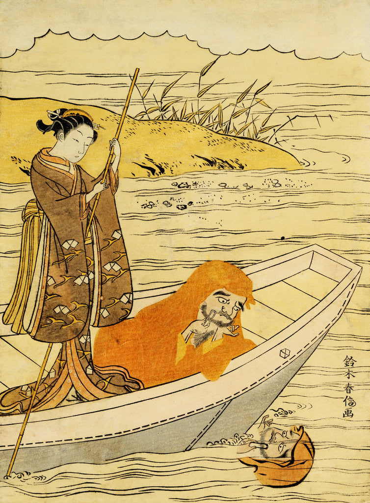 Detail of Daruma Shaving in a Boat, Watching His Reflection in the Stream, a Beauty Poling the Boat by Harunobu