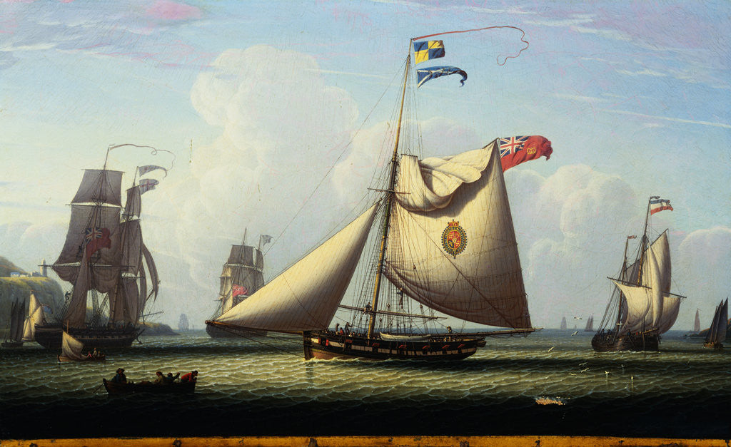 Detail of A Yacht of the Royal Club with King George IV on Board by Robert Salmon