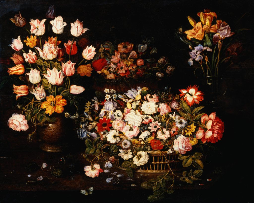 Detail of Four Vases of Varying Flowers by Osias Beert the Elder