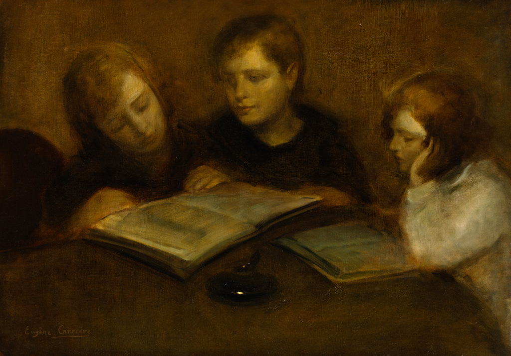 Detail of Girls Reading by Eugene Carriere